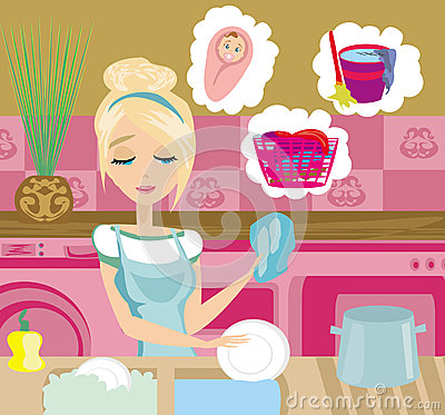 洗盘子的主妇 向量例证