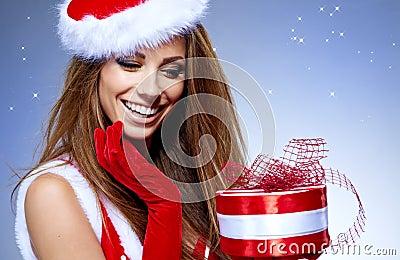 的女孩穿衣与圣诞节g