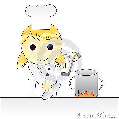 烹调女孩的动画片主厨