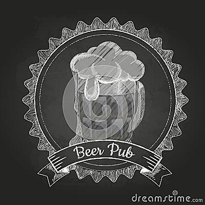 啤酒 粉笔画