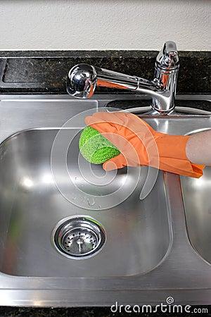 清洁厨房水槽 库存照片