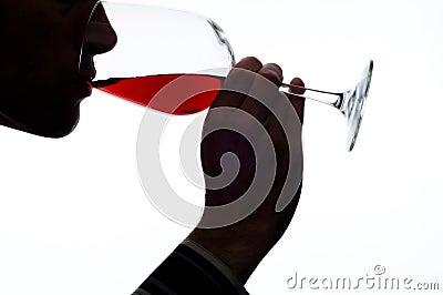 backgound人红色品尝白葡萄酒