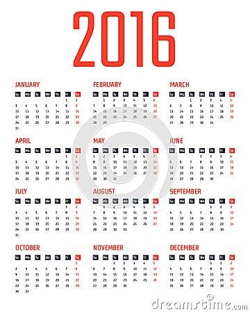 日历模板2016年 库存例证图片