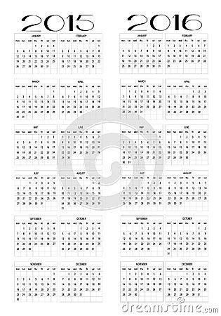 一本新的日历2015年和2106的设计用英语图片