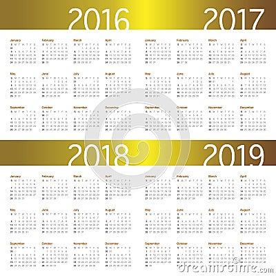 日历2016 2017 2018 2019年图片