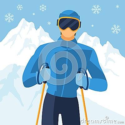 山冬天风景背景的人滑雪者图片