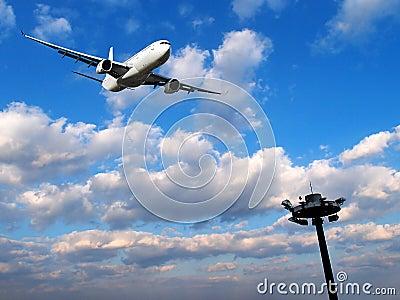 上升的飞机 免版税库存照片