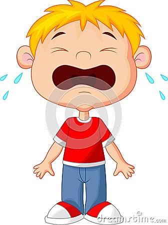 少许哭泣的男孩 向量例证
