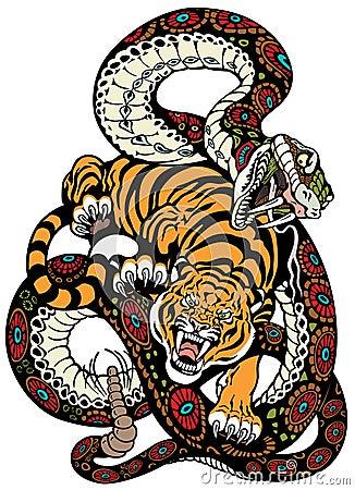 蛇和老虎战斗,纹身花刺例证