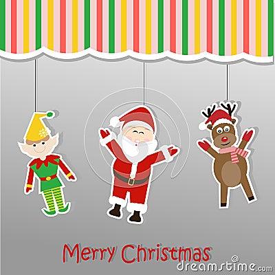 圣诞节与圣诞老人矮子和驯鹿的背景贴纸