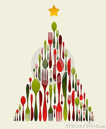 圣诞节刀叉餐具结构树