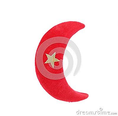圣诞节礼物红色月亮.隔绝在白色背景
