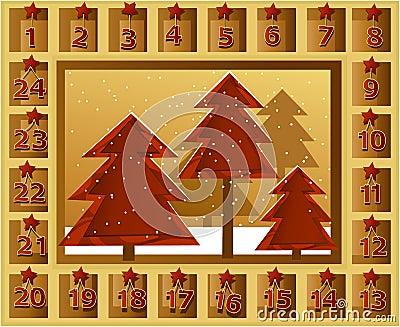 手工造与圣诞树的木出现日历-节假日背景.图片