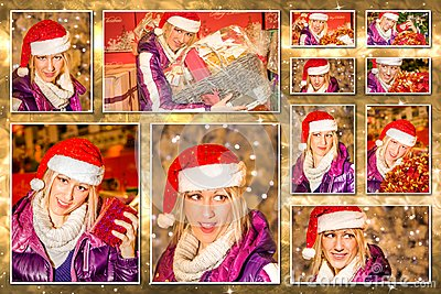 圣诞节圣诞老人拼贴画