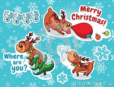 圣诞节贴纸集合 驯鹿圣诞老人