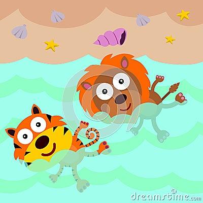 狮子和老虎游泳