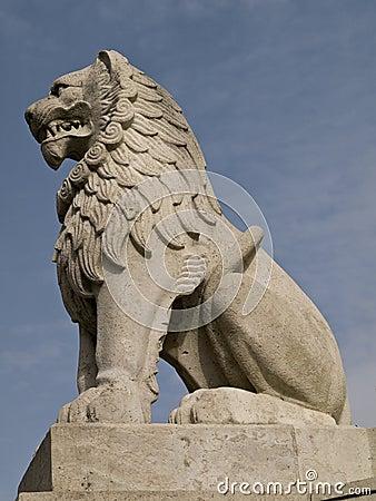 桥梁布达佩斯狮子雕塑端石头