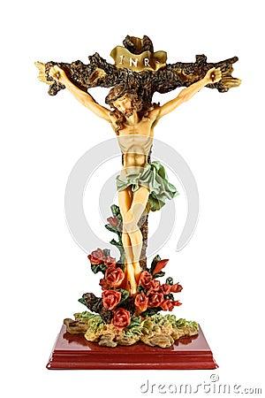 耶稣基督在十字架上钉死雕塑