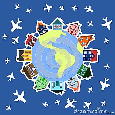 世界旅行概念-在地球附近的飞机. 全球社区-地球和房子.图片