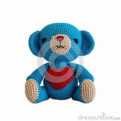 手工制造钩针编织蓝色熊玩偶