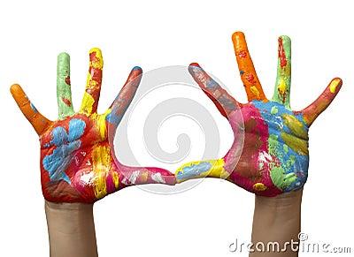手画儿童的颜色 免版税图库摄影