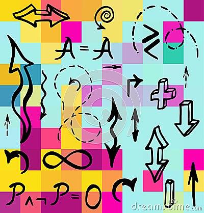 手拉的数学元素传染媒介例证图片
