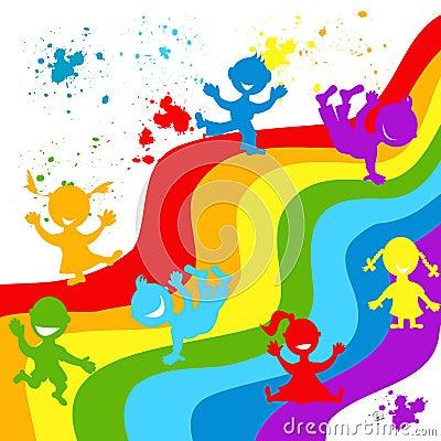 手在彩虹颜色淹没儿童剪影