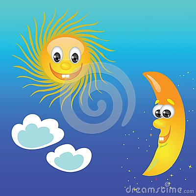 与太阳和月亮的五颜六色的例证在天空背景