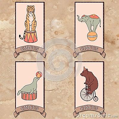 套马戏团动物 向量例证
