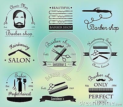 套葡萄酒理发店商标,标签,徽章和设计元素 套精神美发师和辅助部件图片