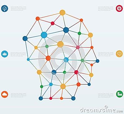 网络连接线.与象的infographics模板以头的形式