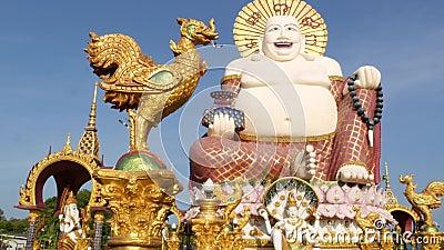 Άγαλμα Hotei έξω από το βουδιστικό ναό Παραδοσιακό ευτυχές γλυπτό Hotei που βρίσκεται στο ναυπηγείο της λάρνακας βουδισμού ενάντι φιλμ μικρού μήκους