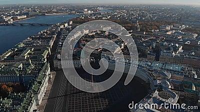 Άγιος-Πετρούπολη Άποψη ST Isaac Cathedral, οδοί και κανάλια αέρα νερού απόθεμα βίντεο
