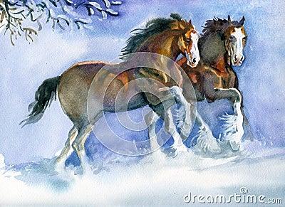 Στοκ φωτογραφία: άλογα που τρέχουν το