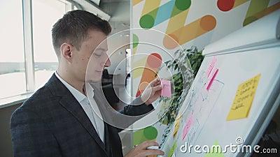 Άνδρας δημιουργικός σχεδιαστής που γράφει και προσθέτει αυτοκόλλητο σε λευκό πίνακα στο γραφείο απόθεμα βίντεο