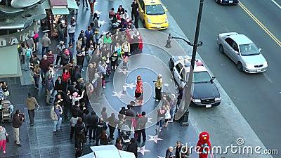 Άποψη του περιπάτου Hollywood της φήμης σε Hollywood Blvd στο Λος Άντζελες, ασβέστιο σε CIRCA 2014 απόθεμα βίντεο