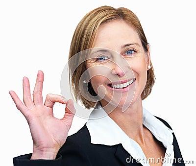 άριστη gesturing ώριμη SIG γυναίκα εργ