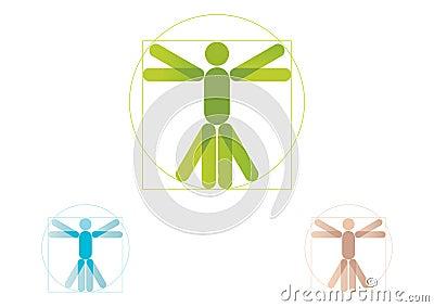άτομο λογότυπων vitruvian