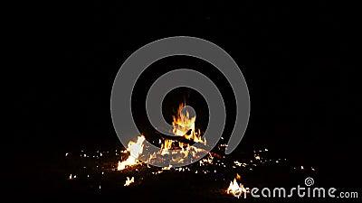 Έγκαυμα και σπινθήρισμα φλογών στη φωτιά της πυράς προσκόπων φιλμ μικρού μήκους