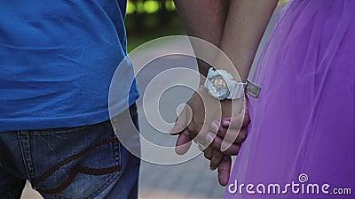 Ένας τύπος με ένα κορίτσι που περπατά στα χέρια εκμετάλλευσης πάρκων Οι νέοι εραστές περπατούν Κινηματογράφηση σε πρώτο πλάνο των απόθεμα βίντεο