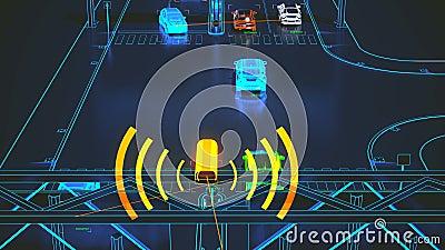 Έννοια συστημάτων μεταφορών Autonome, έξυπνη πόλη, Διαδίκτυο των πραγμάτων, όχημα στο όχημα, όχημα στην υποδομή