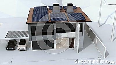 Έξυπνο σπίτι που τροφοδοτείται από τα ηλιακά πλαίσια και τον ανεμοστρόβιλο Ηλεκτρικό όχημα που επαναφορτίζει στο γκαράζ απόθεμα βίντεο