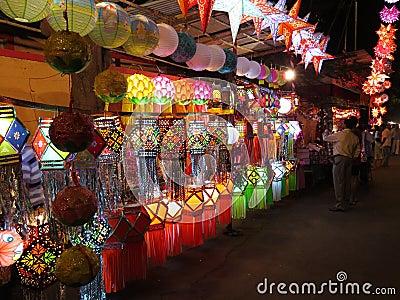 Αγορές Diwali Εκδοτική Φωτογραφία
