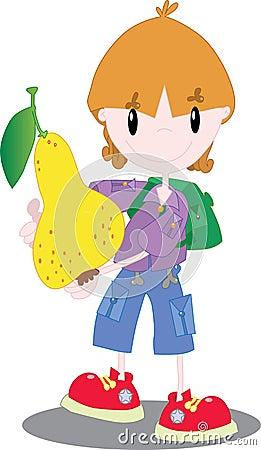 Αγόρι με ένα αχλάδι