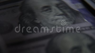 Αμερικανικά δολάρια: τραπεζογραμμάτιο 100 Πρόεδρος Benjamin Franklin σε έναν λογαριασμό απόθεμα βίντεο