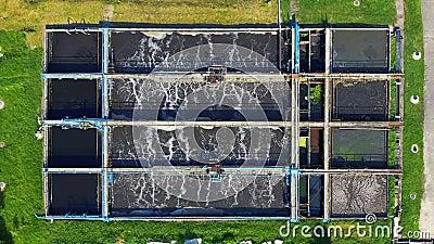Ανακύκλωσης τεχνολογία συστημάτων κατεργασίας ύδατος Εναέρια κορυφή κάτω από την άποψη κηφήνων απόθεμα βίντεο