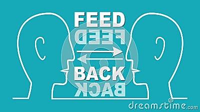 Ανατροφοδοτήστε τη ζωντανεψοντη απεικόνιση Δύο κεφάλια στο άσπρο σχέδιο γραμμών, επικοινωνία, κουμπώνουν ναι, κανένα κουμπί, βέλη διανυσματική απεικόνιση