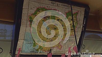 Αντίγραφο του παλαιού χάρτη της Καμπότζης στο tourisctic λεωφορείο φιλμ μικρού μήκους