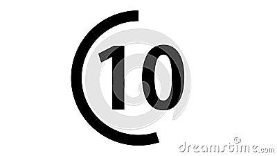Αντίστροφη μέτρηση 10 έως 0 ζωτικότητα 60 δευτερολέπτων 2s άλφα κανάλι fps απόθεμα βίντεο