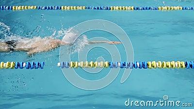 Ανταγωνισμός κολύμβησης Ο επαγγελματικός κολυμβητής κολυμπά αριστερά στο δικαίωμα φιλμ μικρού μήκους